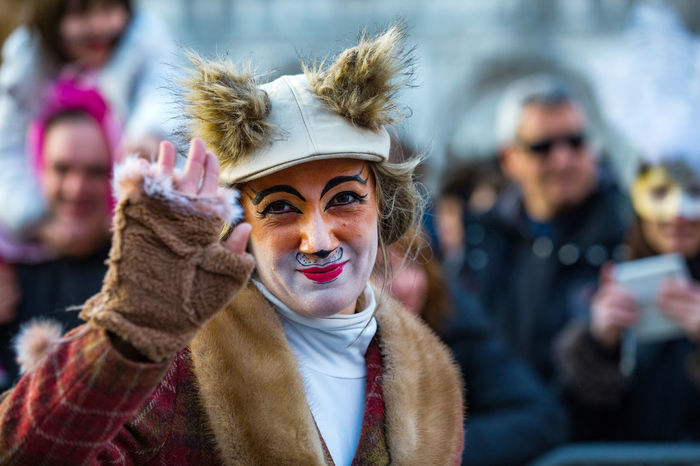 Carnival Carnival In Venice Venice, Italy Adult Adults Only Arts Culture And Entertainment Carnival Costumes Close-up Day Focus On Foreground Headshot Looking At Camera Mask One Person Outdoors People Portrait Smiling Venetian Mask Warm Clothing Young Adult