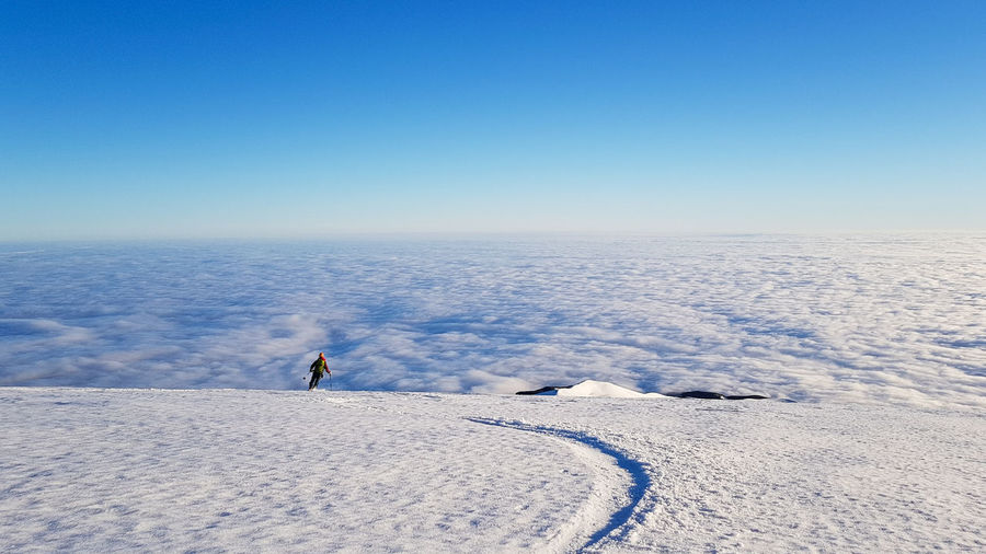 Scenic view of snowcapped landscape against clear blue sky