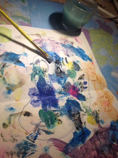 Paintbrush Art And Craft Palette Paint Multi Colored Art And Craft Equipment Oil Paint Indoors  Paint Can Close-up