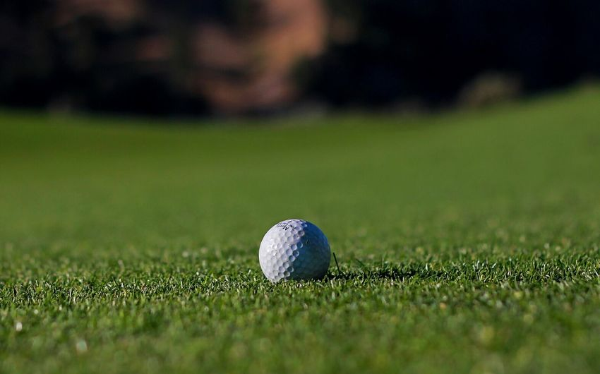 Close-up of golf ball on grass