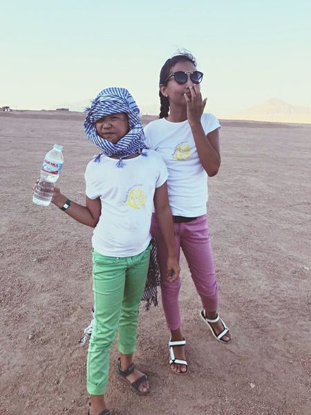 Childhood Child Togetherness Full Length Happiness Headwear Females Smiling Outdoors Egypt Desert Sisters Hot Weather Dry Weather
