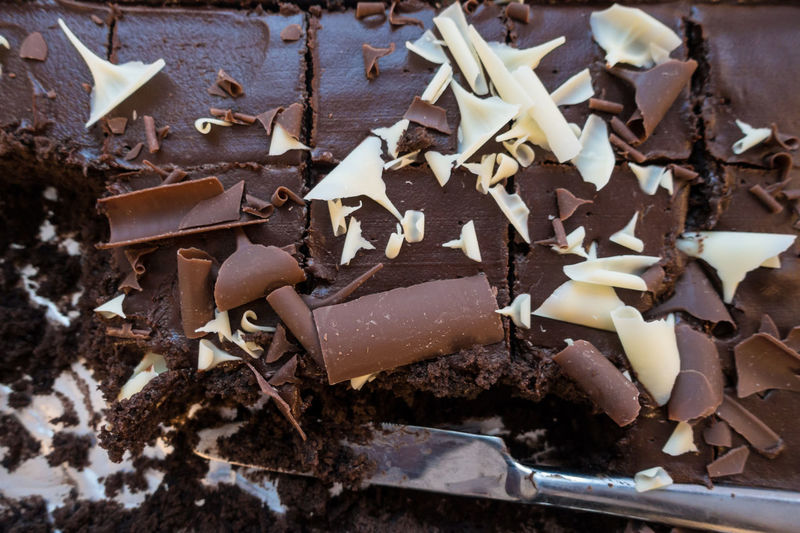 A chocolate tray bake cake with some pieces taken out. Fattening Knife Cake Calories Calorific Chocolate Close-up Day Delicious Dessert Food Food And Drink Freshness Indoors  Indulgence No People Ready-to-eat Sweet Sweet Food Taste Temptation Tray Bake Unhealthy Unhealthy Eating