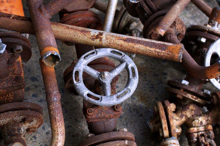 Close-up of rusty metallic valve
