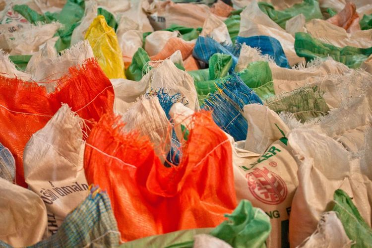 Rice Ricebags Colorful Colored Ricebags Rows Of Things ASIA Food Stored Food Bags