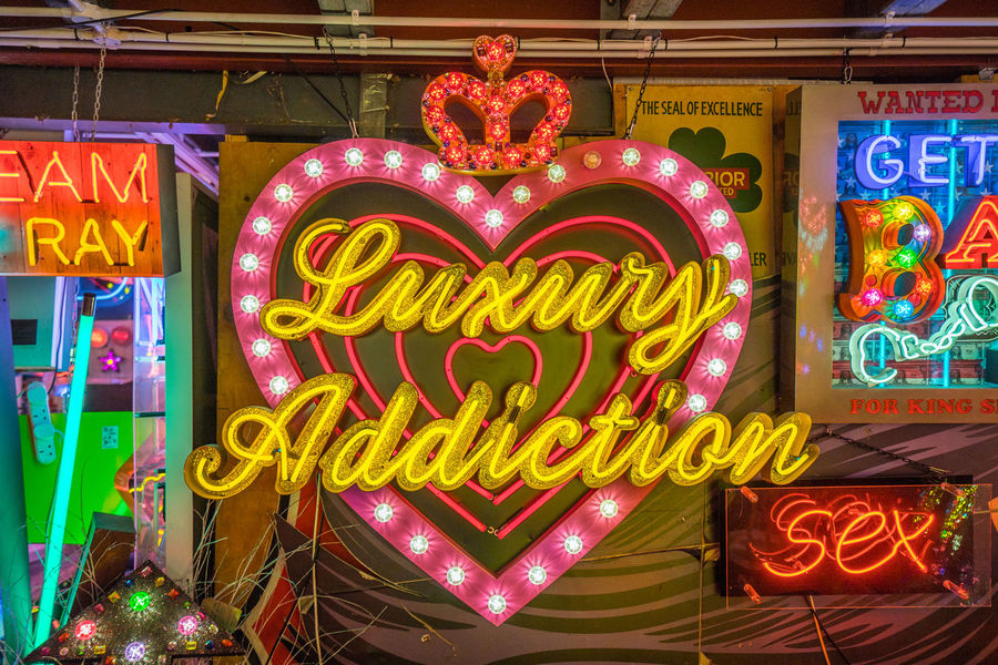 Neon signs and decorations at God's Own Junkyard in Walthamstow, London. Bright Colors Colourful Neon Signs Addiction City Lighting Illuminated Luxury Luxury Addiction Multi Colored Neon Neon Lights Text Urban Urban Lighting