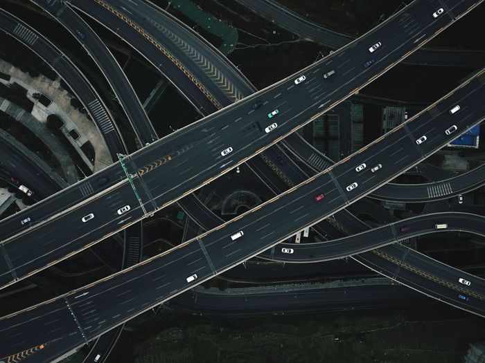 Aerial View Of Elevated Road In City At Night