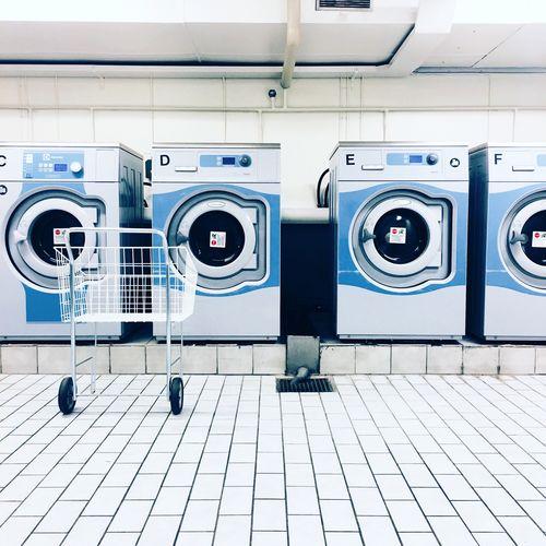 Washing machines indoors