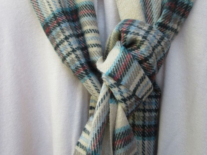 Close-up of tied woolen scarf