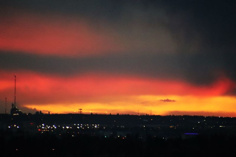 Sky Cloud - Sky Orange Color Architecture Illuminated Beauty In Nature Sunset