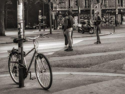 Paris France Bicycle Abbesses Père Lachaise Blackandwhite Black And White Monochrome Fuji Fujifilm FujifilmX70 Mystery Street Life People lł