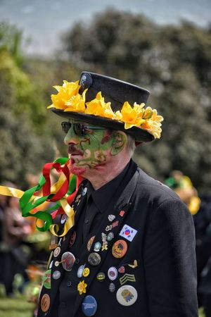 Jack In The Green Festival Jack In The Green Hastings May Day 2017 Pagan Festival East Sussex Carnival - Celebration Event Flower One Person Focus On Foreground One Man Only Adults Only Day Outdoors Only Men Close-up Portrait Mature Adult Yellow Flower Multi Colored Celebration Arts Culture And Entertainment Live For The Story Human Representation Headshot
