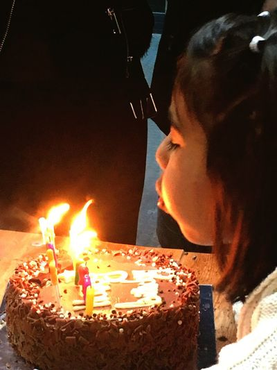 Birthday Cake Birthday Candles Sweet Food Celebration Candle Flame One Person Burning EyeEmNewHere Happiness Blowing Candles Birthday