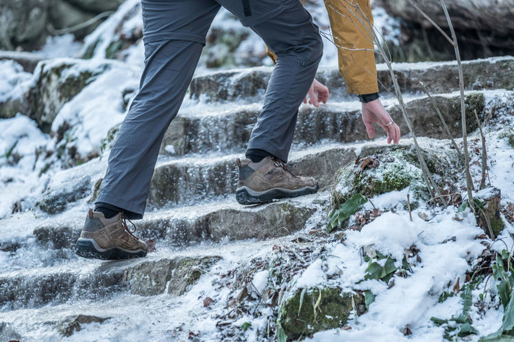 Adult Adventure Close-up Cold Temperature Day Frozen Water Hiking Human Body Part Human Leg Ice Low Section Motion Mountain Nature Outdoors People Slippery Snow Staorway Steps Stumbling Waterfall Winter