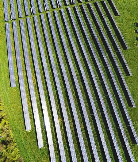 High angle view of solar panel field