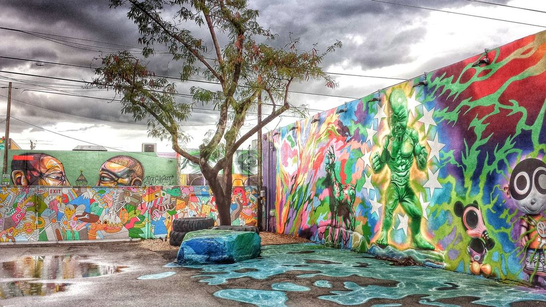 Wynwoodwalls Wynwood Art Walk Graffiti Multi Colored Creativity Day Tree No People Built Structure Outdoors Architecture Sky Art Deco Style Lifeguard Hut Tranquility Nature Beach Cloud - Sky Sea Life Is A Beach Lifestyle Freshness Fragility Happiness Cheerful