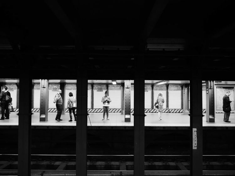 NYC Photography NYC Street Photography NYC Subway Adult Architectural Column Architecture Black And White Photography Built Structure City Devices Indoors  Lifestyles Men Night Parking Garage People Railroad Station Railroad Station Platform Real People Subway Platform Walking Women