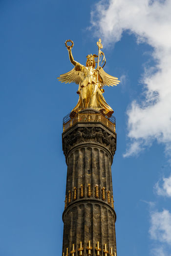 Paint The Town Yellow Architecture Berlin Siegessäule Berlin Victory Column Building Exterior Built Structure Cloud - Sky Day Gold Gold Colored Golden Golden Color Human Representation Low Angle View No People Outdoors Sculpture Sky Statue Travel Destinations