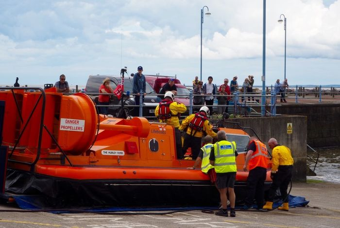 Preparing to launch Lifeboat RNLI Cloud - Sky Lifeboat Launch Men Nautical Vessel Outdoors Protective Workwear Real People Reflective Clothing Teamwork