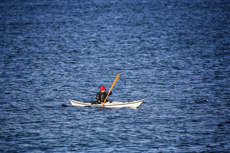 Person Sailing Kayak In Baltic Sea
