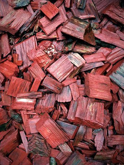Full frame shot of red wood chips