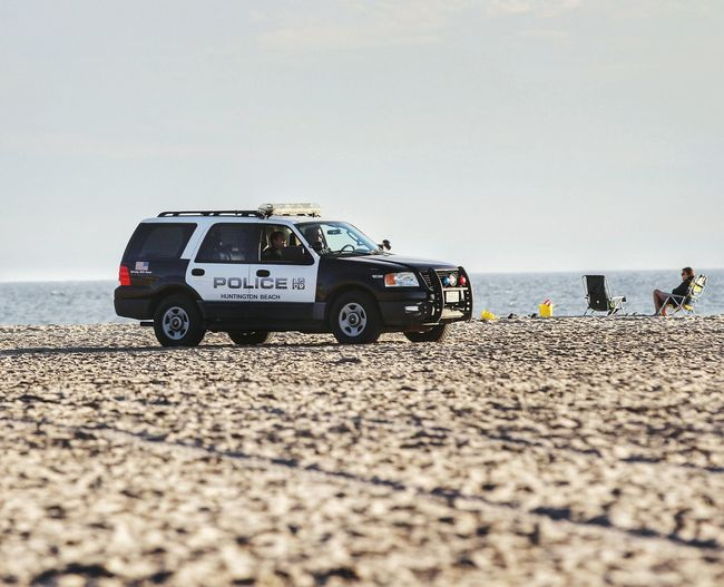 View of car on beach