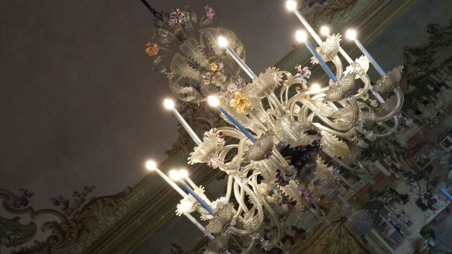 Illuminated Chandelier Murano Indoors  Room Art And Craft Italy 🇮🇹 Settecento