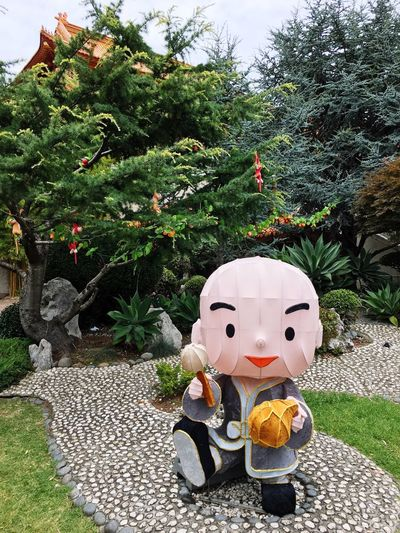 One of the many cartoon monks at Nan Tien Temple, NSW.