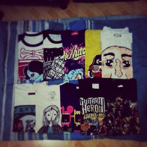 My shirt collection from @rockcedie (feel ko lang iadd yung chicano shirt hihi ,) Shirt NickAutomatic Robomuffin Rogue domo artwork guitarhero marvel teejearker