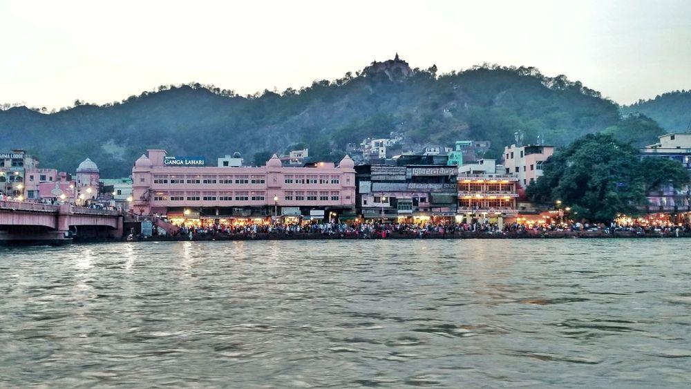 Haridwar,India Indian Spirituality Ganga River Gangaaarti Evening View Ghaat Mountain Riverside Landscape Water Outdoors