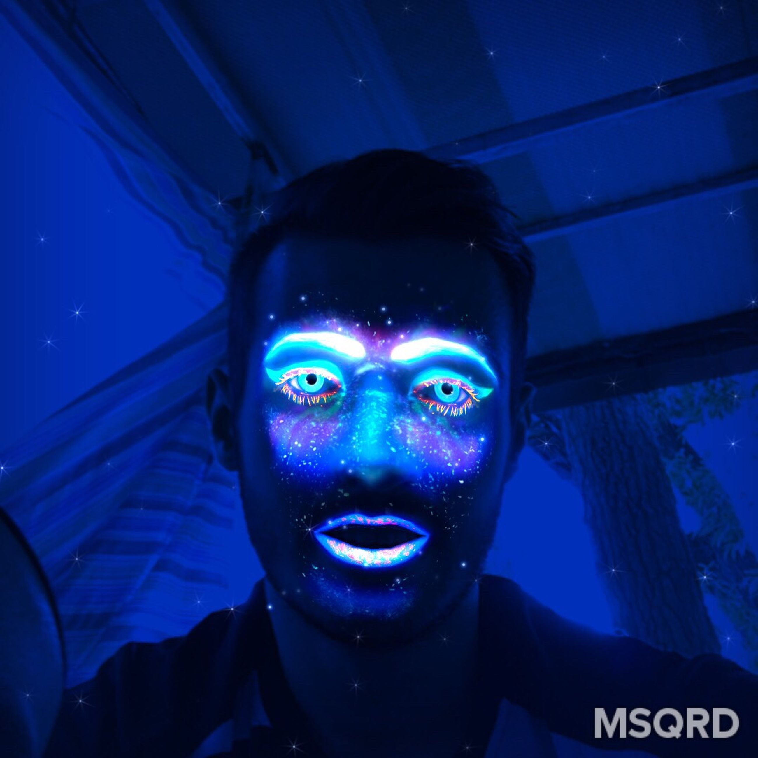 blue, portrait, headshot, close-up, illuminated, human face, lifestyles, leisure activity, focus on foreground