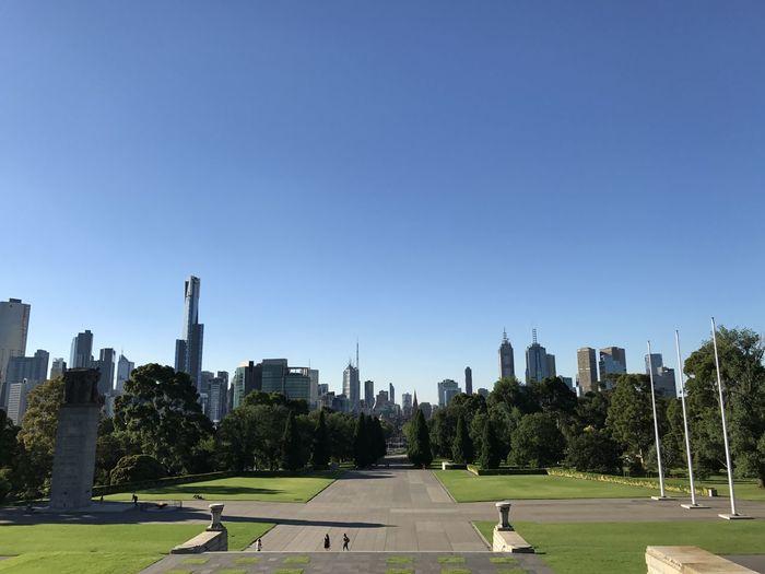 City Buildings Against Clear Sky