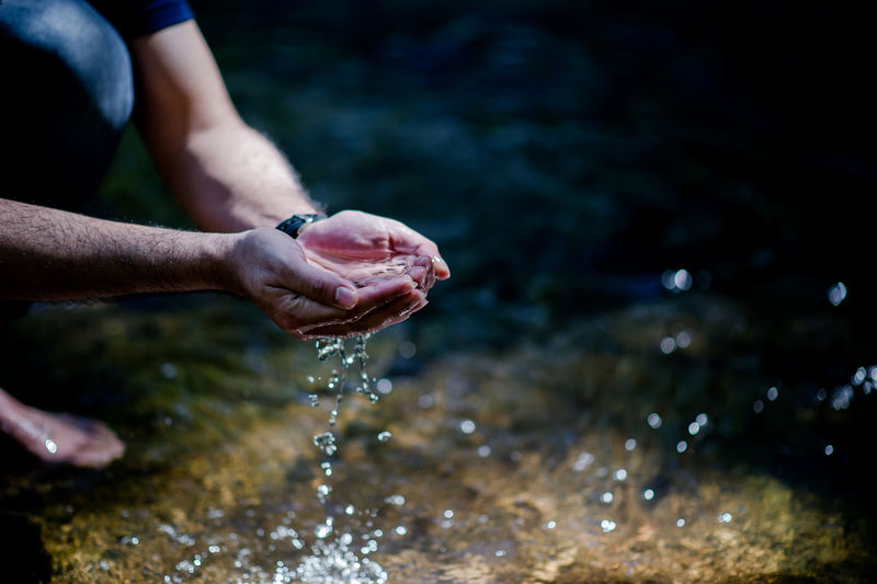 Close-up of hand holding wet water