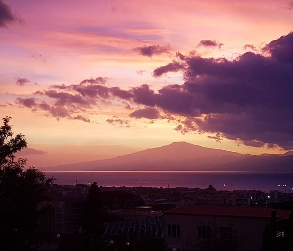 Sunset Sky Purple City Cloud - Sky Outdoors No People Beauty In Nature Mountain Nature Cityscape Etna; Volcan; SIcily, Catania, ReggioCalabria