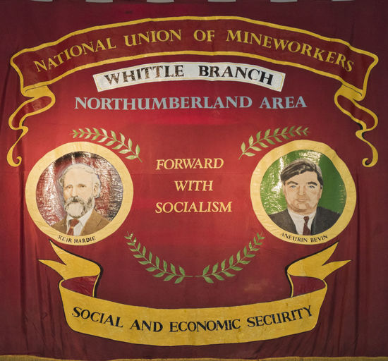 Banner of the Whittle branch of the National Union of Mineworkers. Social And Economic Security Banner Flag Hisory National Uion Of Mineworkers Northuerland