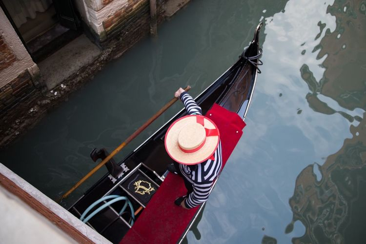 Water Venice Gondolier Gondola - Traditional Boat High Angle View Nautical Vessel Day Water Transportation Mode Of Transport Outdoors