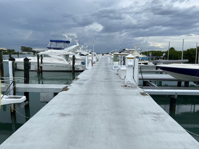 View of empty marina against cloudy sky