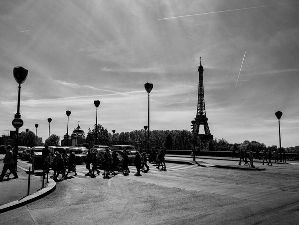 Sky Cloud - Sky Transportation In A Row Mode Of Transport Outdoors Day City Paris France Eiffel Tower Bridge Pedestrians Blackandwhite Bnw Monochrome Amazing Architecture People Clear Sky Sunny Day Photo Parisians  Nice Day Atmosphere