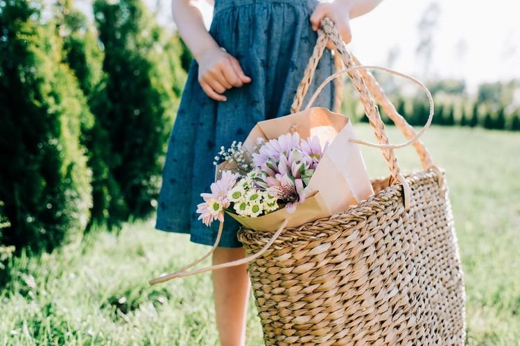 Midsection of woman holding flower in basket on field