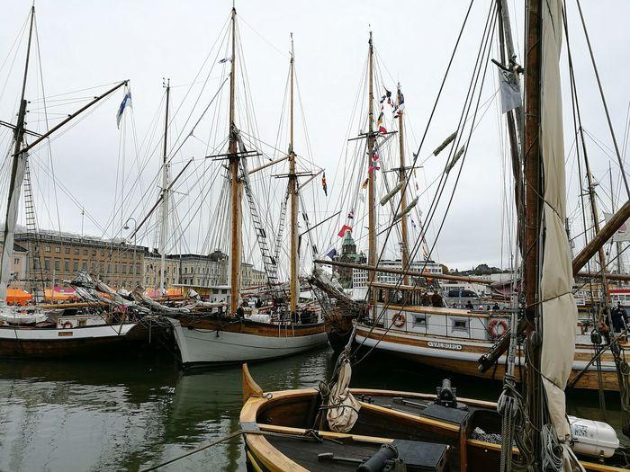 Don't get tangled up... Nautical Vessel Boat Harbor Water Sky Outdoors Waterfront Sailing Boat Sail Boat Mast Helsinki Kauppatori Finland