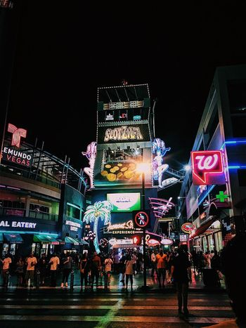 Fremont Night Illuminated Crowd City City Life Neon Lifestyles Nightlife