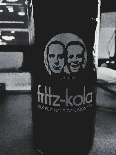 Indoors  Close-up Human Hand People BrianArlt Mobilephotography Mobile Photography Drink Bottle Product Photography Product Fritz-kola Black & White