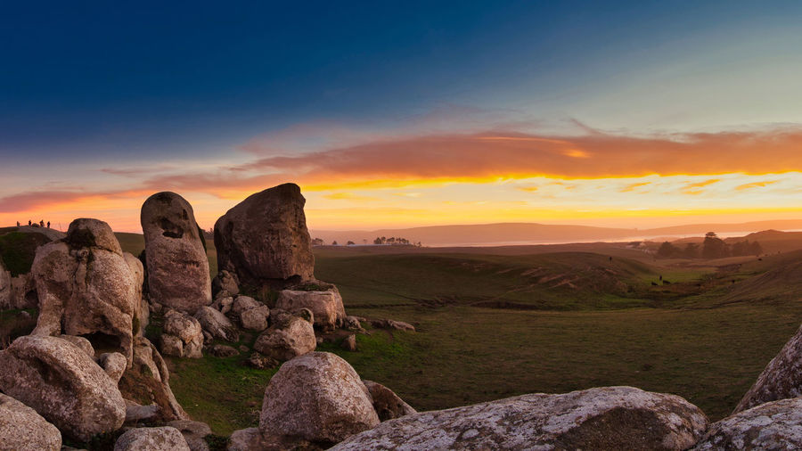 Sunset at Elephant Rock above Dillon Beach and Tomales Bay. Panorama stitched from 8 shots. Travel Destinations Land Tranquility Grassland Pasture Agriculture Panorama Panoramic Photography Bodega Bay Dillon Beach, CA Tomales Bay Tranquil Scene Rock Solid Scenics - Nature Sky Sunset Rock - Object Landscape Cloud - Sky Orange Color Rock Formation Sandstone Elephant Rocks