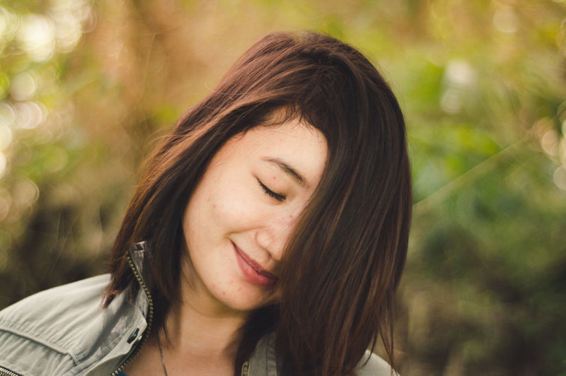 Happy People Happiness Contemplation Smiling Smile Woman People Outdoors Beautiful Woman Day Beauty Brown Hair Real People Close-up Hair Women Eyes Closed  Hairstyle Young Women Portrait One Person Focus On Foreground Young Adult Headshot EyeEm Best Shots International Women's Day 2019
