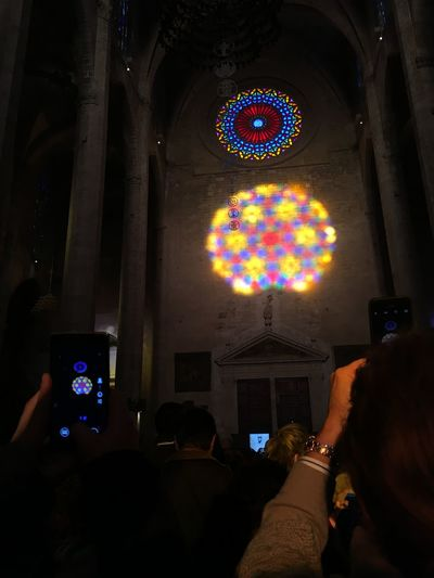 The Tourist Colourful Cathedral Palma De Mallorca Rosetta Lights Playing With Light Light In The Darkness