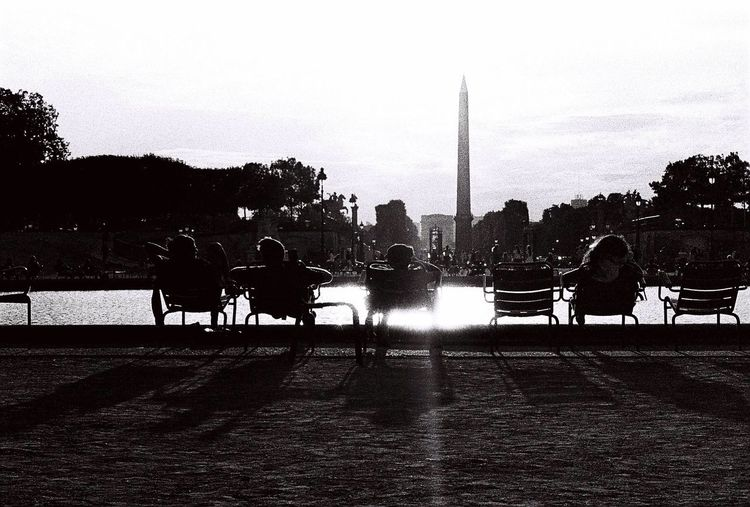 Hava a break, watch the sunset. Paris Black & White People Hanging Out