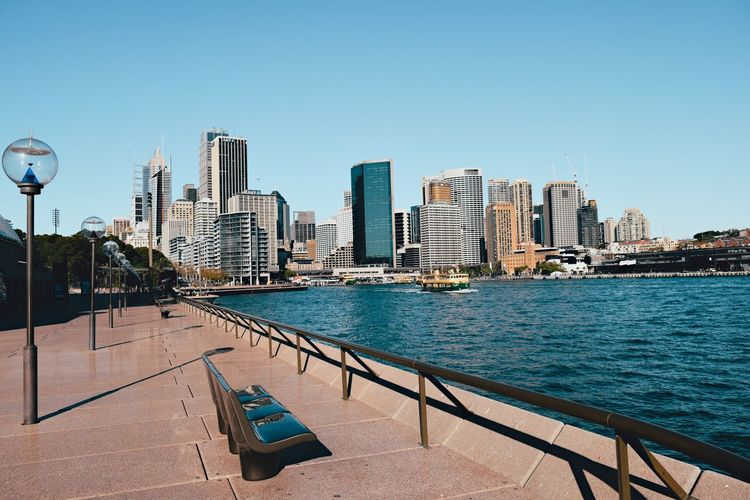 View Of Sydney Skyline At Waterfront Against Blue Sky