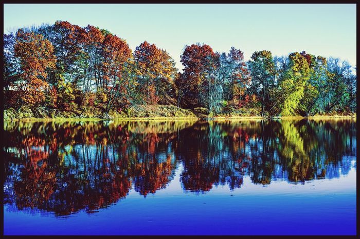 Reflection Auto Post Production Filter Water Nature Tree Tranquil Scene Scenics Clear Sky Beauty In Nature Tranquility Lake Waterfront Idyllic Symmetry Outdoors No People Autumn Day Sky Peaceful