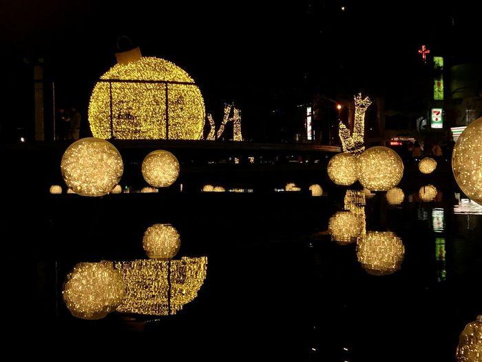 Illuminated christmas lights at night