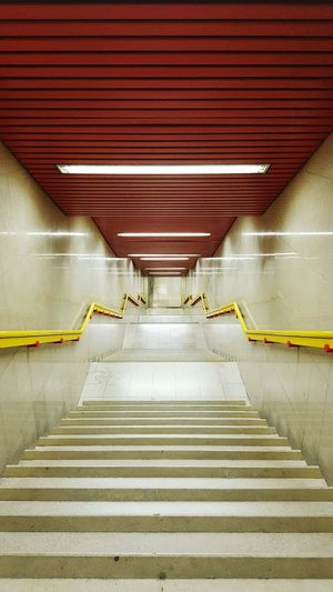 Steps And Staircases Steps Indoors  The Way Forward Railing Staircase Subway Station Ceiling Illuminated Underground Modern