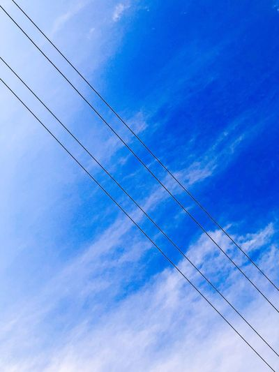 Low Angle View Sky Cloud - Sky Blue No People Cable Day Outdoors Nature Power Supply
